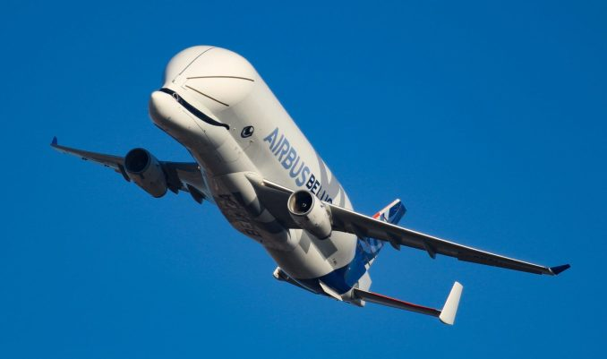 Airbus Beluga XL dips her wings in a nod to staff at Airbus Filton (Image: TransportMedia UK)