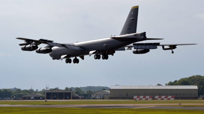 A Boeing B-52H lands at RAF Fairford (Image: The Aviation Media Co.)