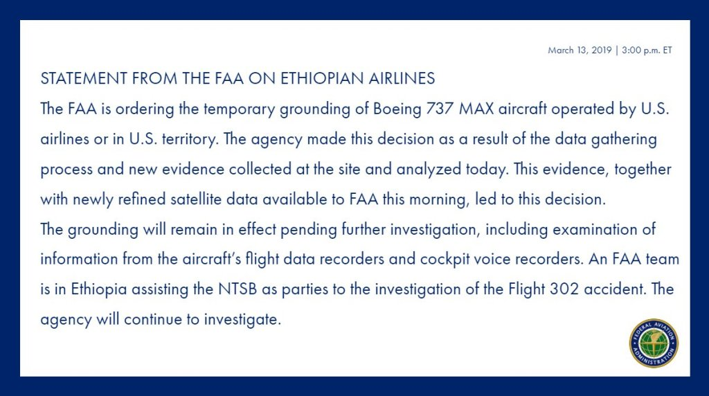 FAA Statement on Boeing 737 Max 8