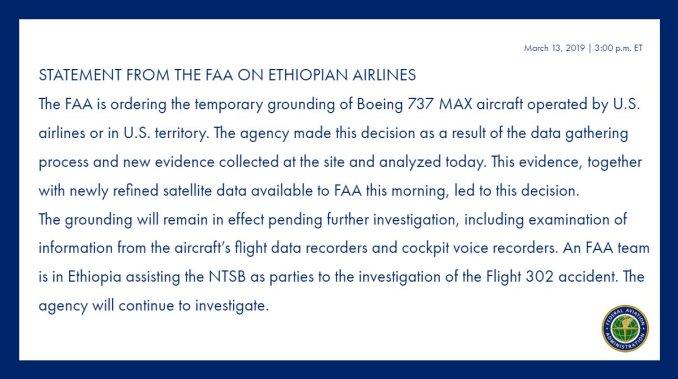 FAA Statement on Boeing 737 Max 8