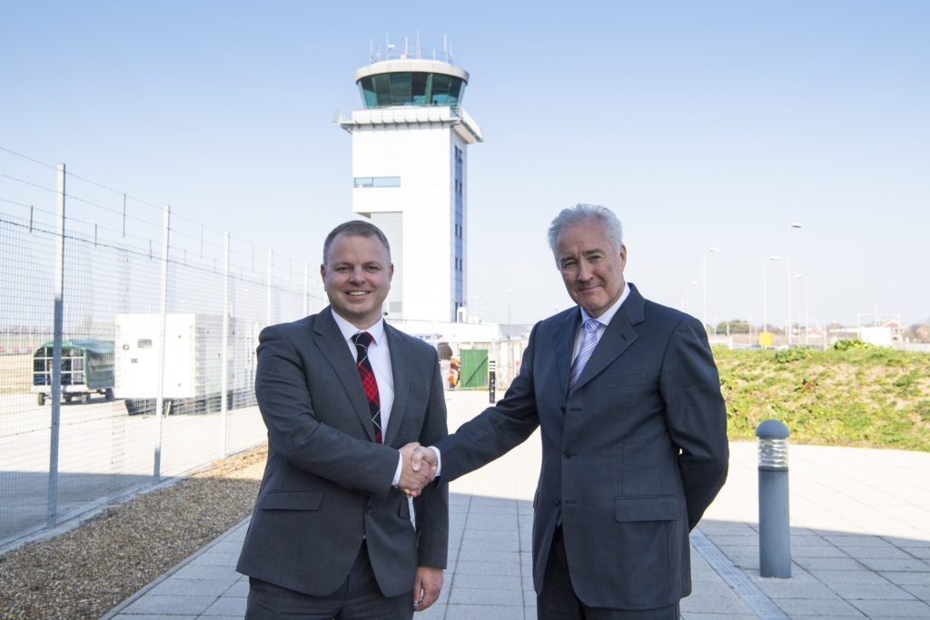 Loganair CEO Jonathan Hinkles and Stobart Aviation CEO (owners of Southend Airport) Glyn Jones