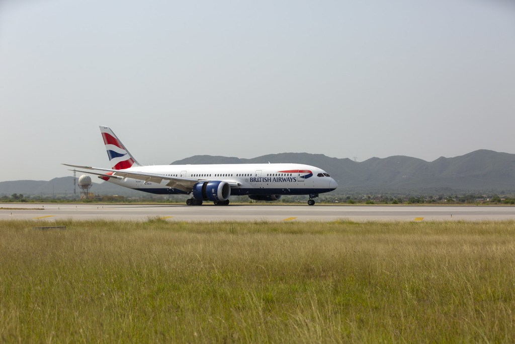 A British Airways Boeing 787 arrives into Islamabad Airport. The first time the airline has visited the country in 10 years.