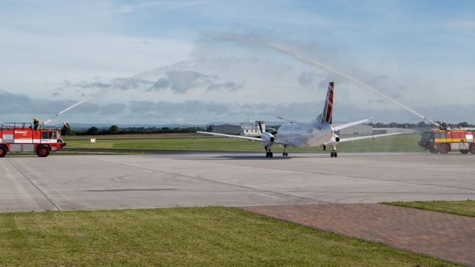 Loganair Saab 340 gets water cannon salute at Carlisle Airport launch