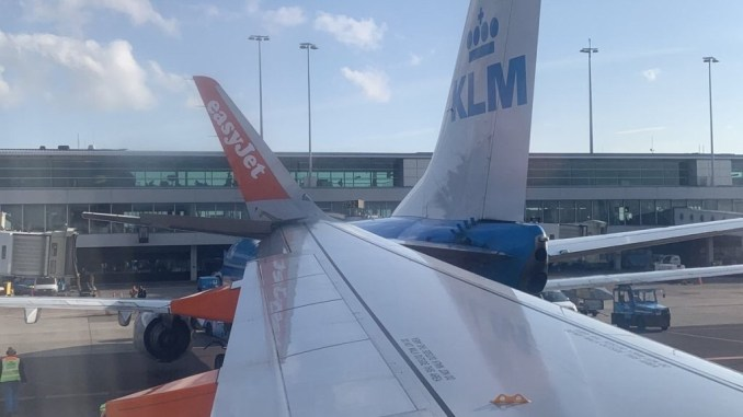 This photo of the incident involving an EasyJet A320 and KLM 737 has been shared widely on social media.