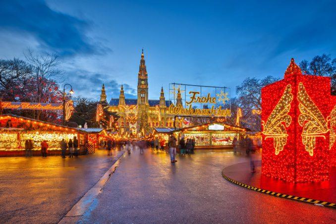 Traditional Christmas market in Vienna, Austria