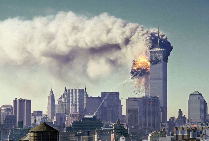 South Tower gets hit on 9-11 (Photo Credit: NIST SIPA [Public domain]