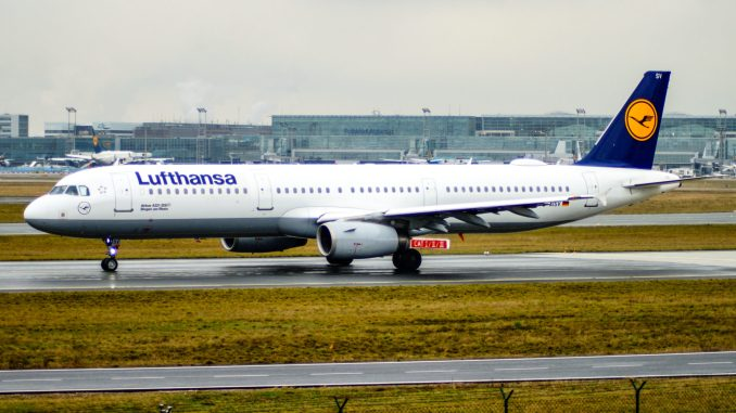 A Lufthansa Airbus A321 at Frankfurt Airport