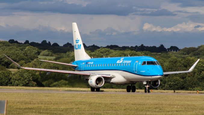 A KLM Embraer taxiing at Cardiff Airport (Image: Aviation Media Agency)