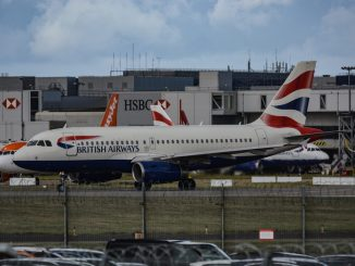 A British Airways Airbus at London Gatwick Airport