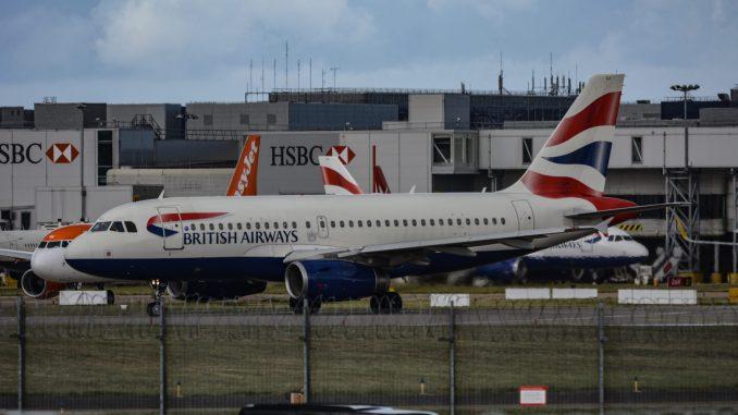 A British Airways Airbus at London Gatwick Airport