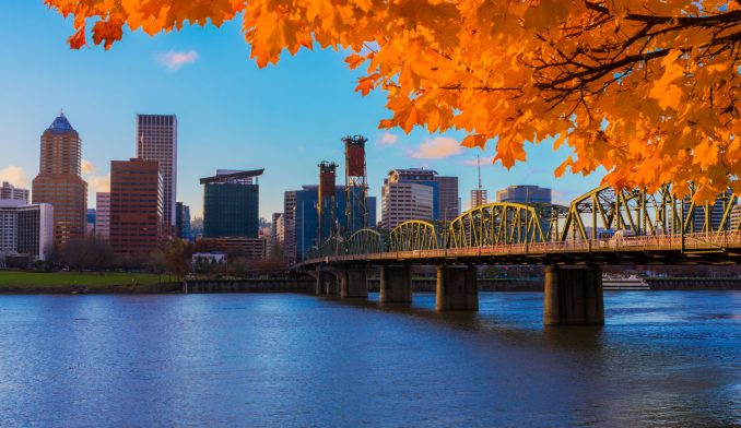 View of Portland, Oregon overlooking the willamette river on a Fall Afternoon