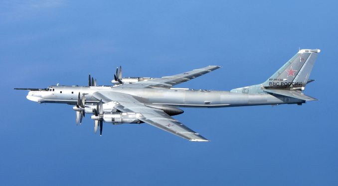 TU-95 Bear seen from an RAF QRA Aircraft while intercepting over the North Sea (Image: ©Crown Copyright / OGL)