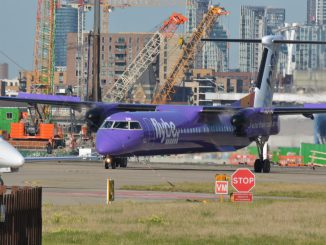 Flybe Dash 8 at London City Airport (Image: TransportMedia UK)