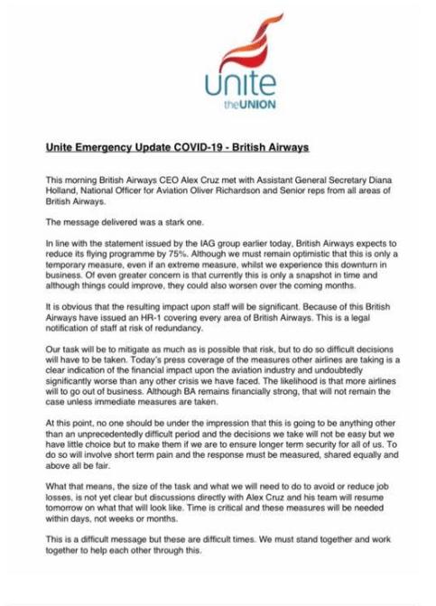 Unite Letter to BA Staff
