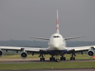 A British Airways Boeing 747 prepares to depart Cardiff Airport (Aviation Media Agency)