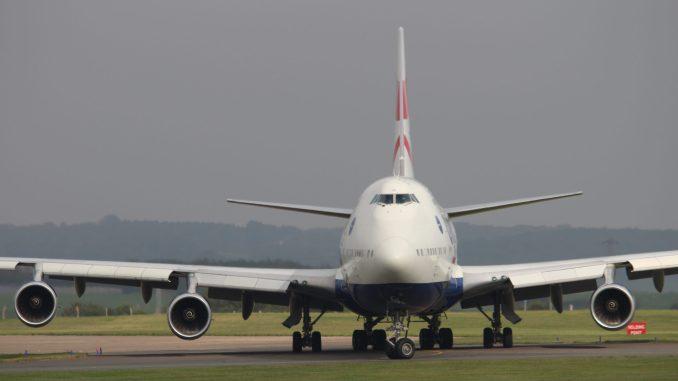 A British Airways Boeing 747 prepares to depart Cardiff Airport (Aviation Media Agency)