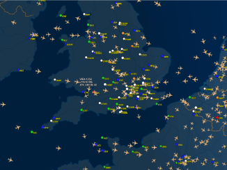 A typical flight tracking scene from FlightAware
