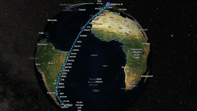 The route of LH2574 (Image: Lufthansa)