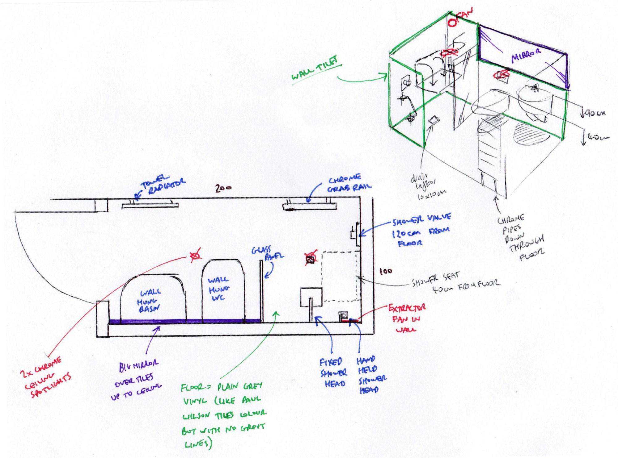hight resolution of visualising a new bathroom