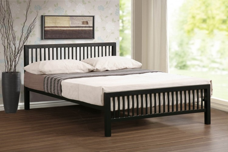 Time Living Meridian 4ft6 Double Black Metal Bed Frame By