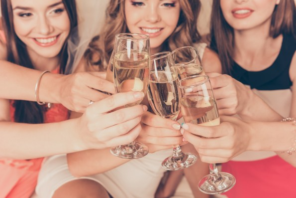 champagne clink, girls drinking, party, girls night out, hen party ideas