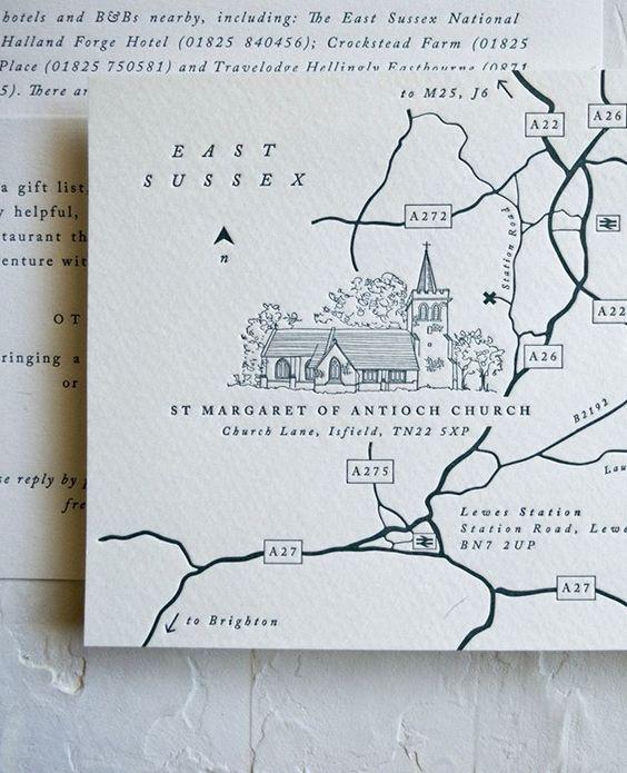 Beautifully embossed wedding map.