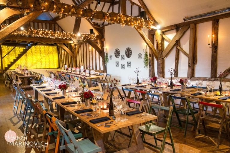 The gorgeous barns filled with decorations and fairy lights!