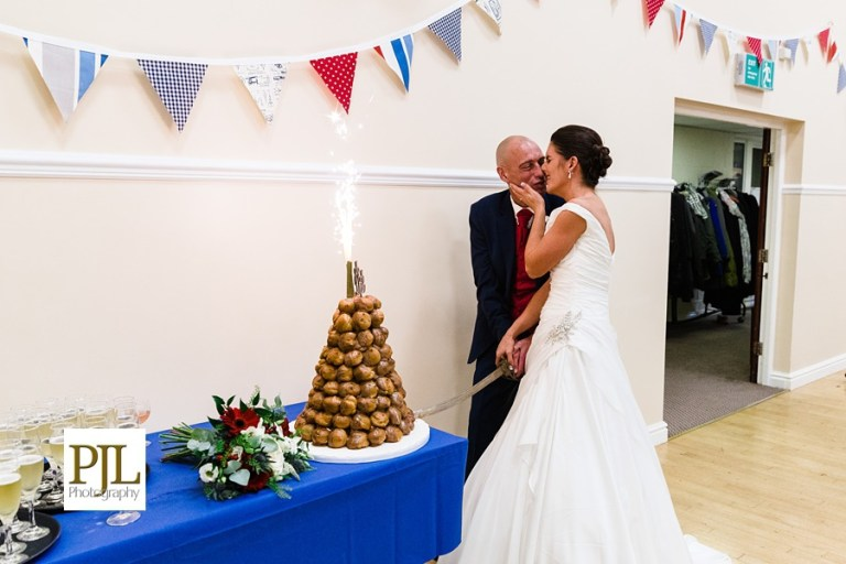 The croquembouche - profiterole tower - was quite a nice touch! They married at West Bradford Village Hall.