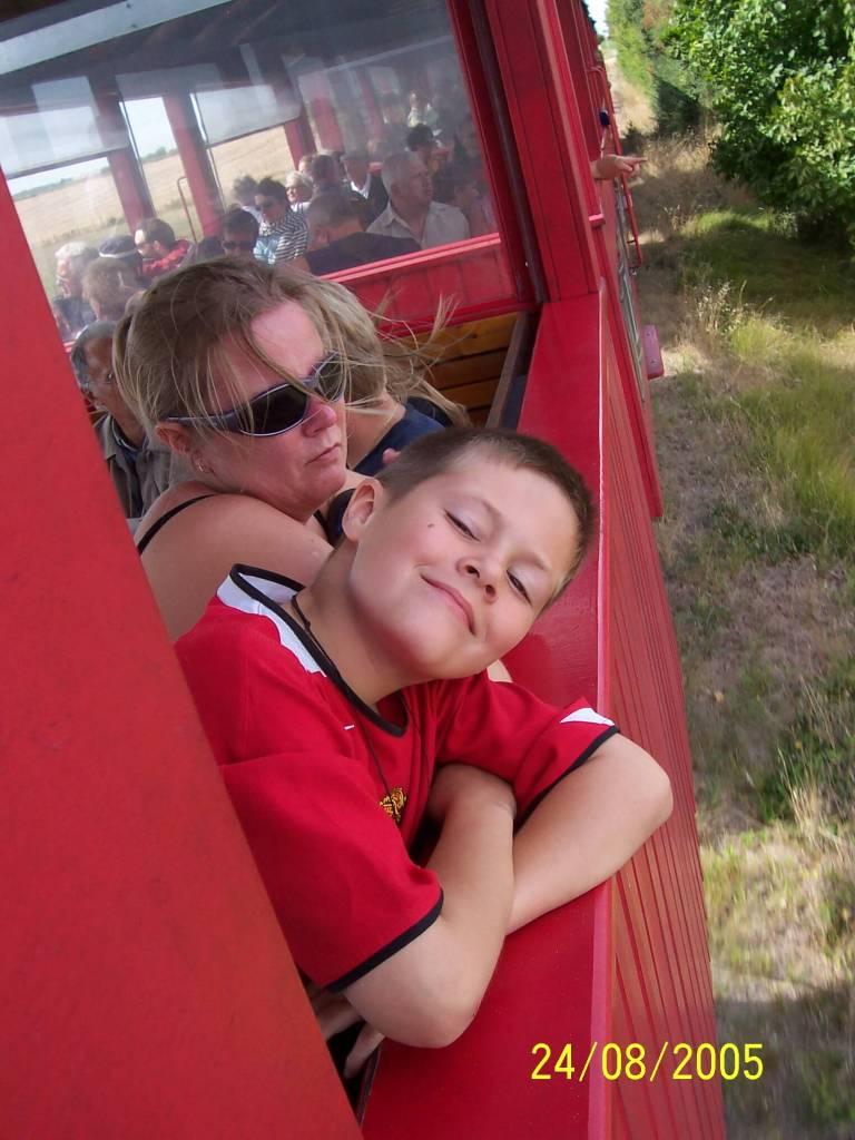 boy & mother on a train
