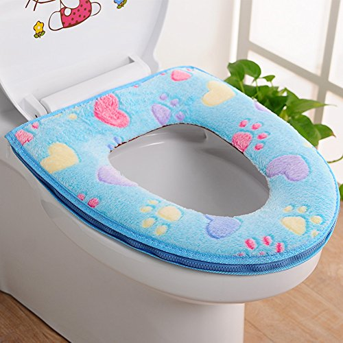CHICMALL Toilet Seat Cover Bathroom Warmer Plush Soft Round Toilet Washable Seat Lid Cover Pads