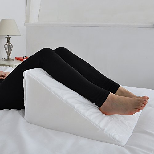Foam Bed Wedge with Quilted Cover Multi Purpose Cushion for Back Neck  Leg Support Prop up