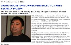 Compass Direct - 3 Year Prison Sentence for Shi Weihan