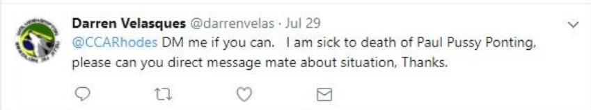Tweet to Andy Rhodes