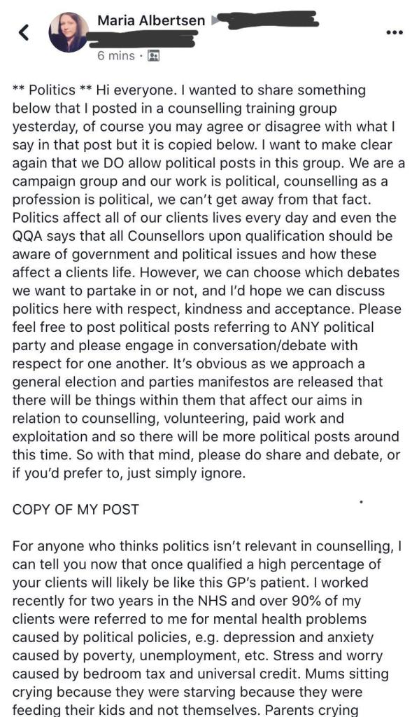 Maria Albertsen Facebook post politics and counselling