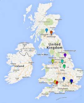 Map of all UKCTAS locations in the UK