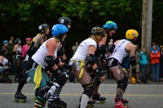 The Black Pearls roller derby demonstration at the Salmon & Oyster BBQ!