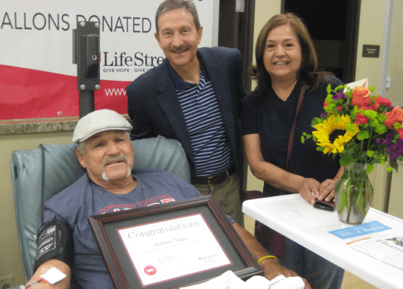 Tapia Honored as 100-Gallon-Plus Blood Donor