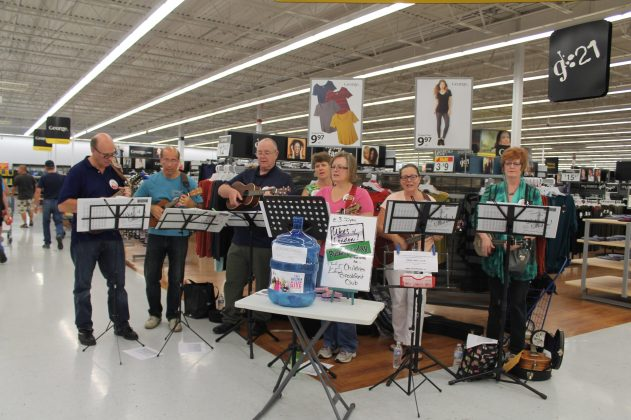 Busking for the Children's Breakfast Club of Canada at Walmart London Argyle 2016