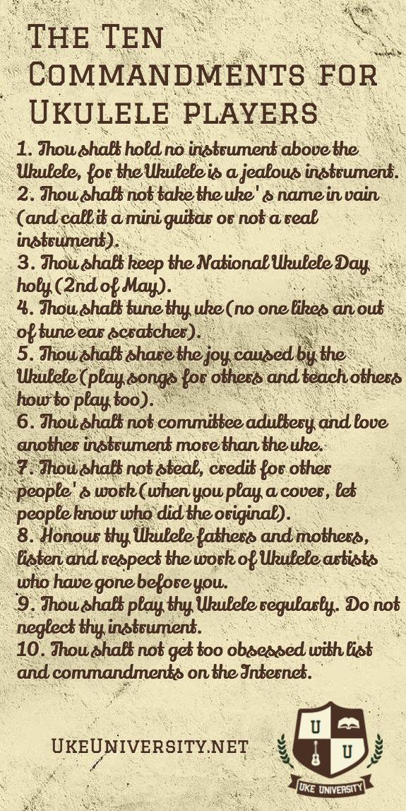 Ukulele players commandments