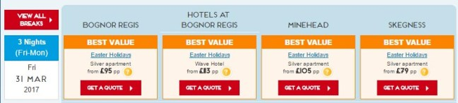 butlins easter prices