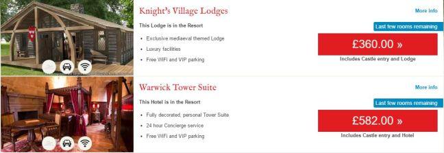 warwick castle woodland lodge prices
