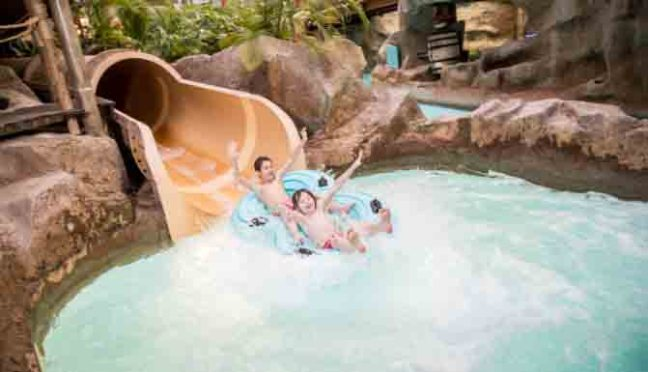 Master Blaster slide that takes you around the perimeter of the water park on a rubber ring!