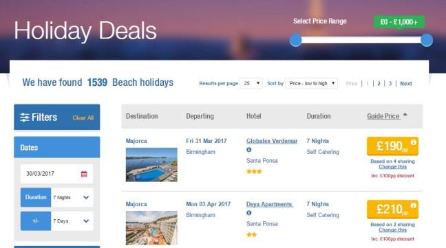 All Holiday deals include £100pp discount