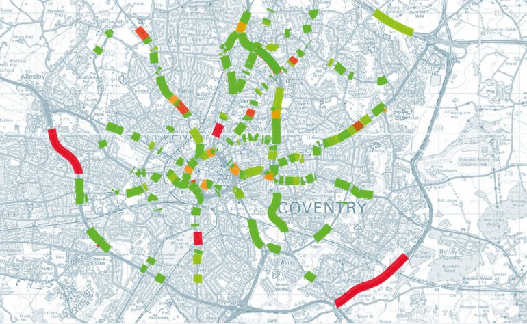 Road-related risk is represented by snapping items to network links in a topological network. This produces a map based on how many incidents are related to a link.