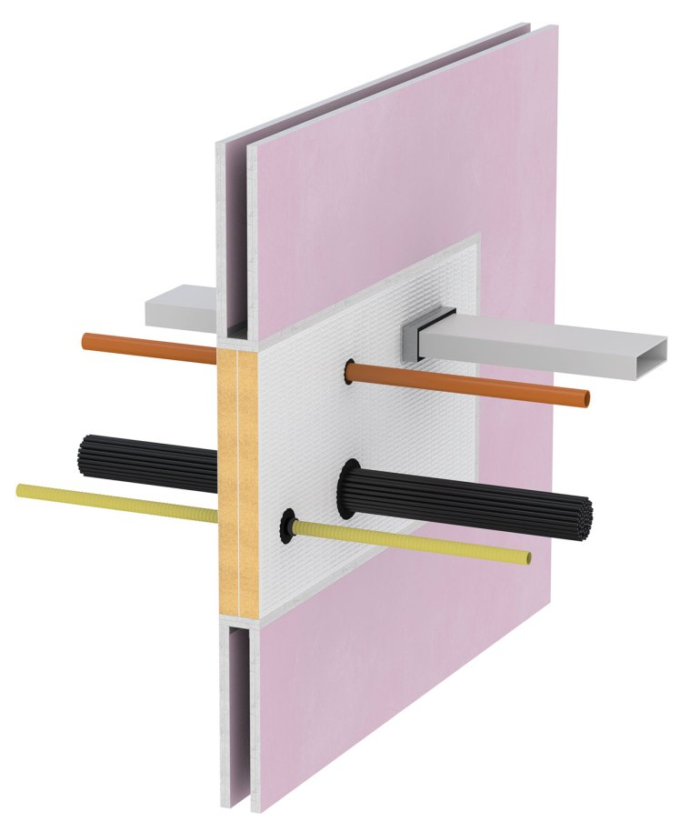 Firestopping system installed around various services penetrating a fire compartment wall.