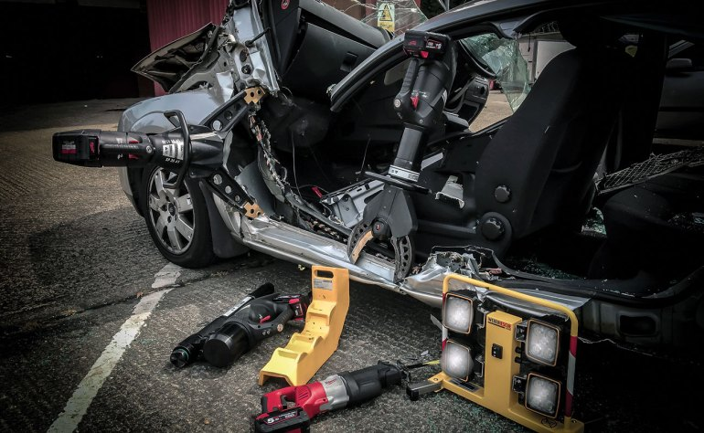 Weber Rescue's E-Force battery powered hydraulic rescue tools.