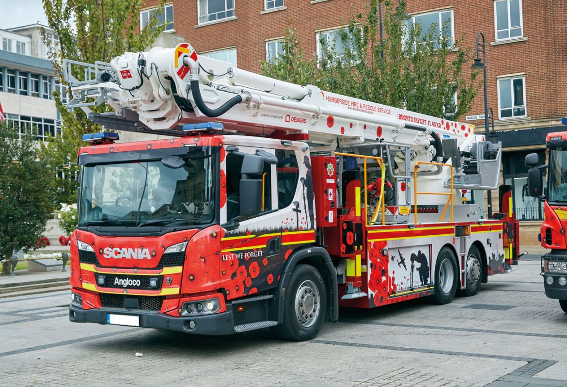 HFRS 45m Aerial Ladder Platform wrapped to offer Remembrance.