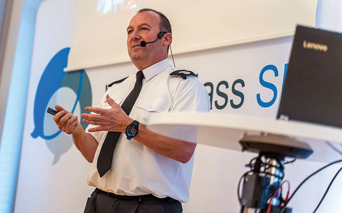 WM Paul Speight delivering a speech on the potential of VR.