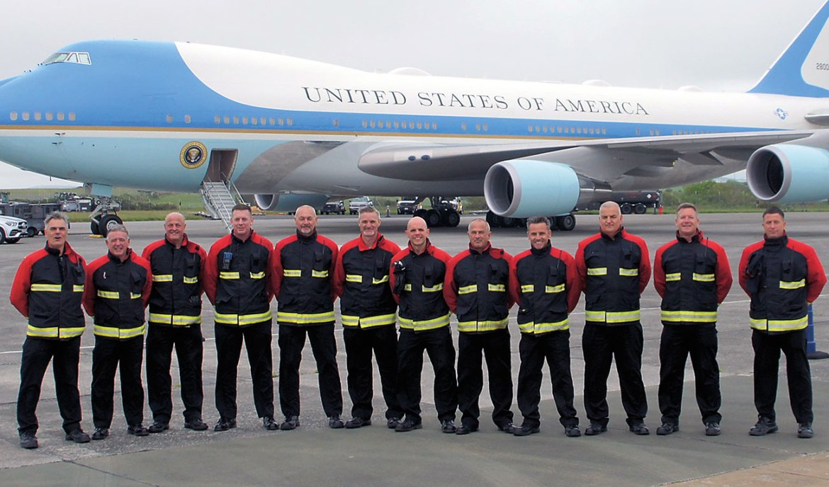 The extended 'Red' watch took this unique opportunity for a group photograph with 'Air-Force 1' in the background at Cornwall Airport Newquay.