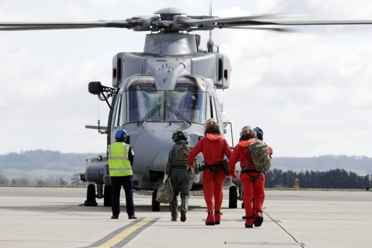 ROYAL NAVY HELICOPTERS FROM RNAS YEOVILTON DEPART FOR OPERATIONS